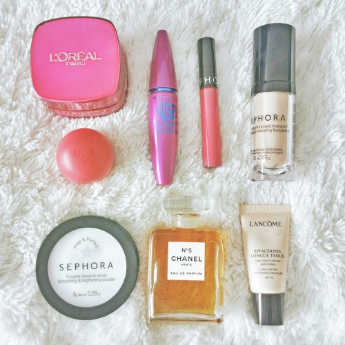 beauty essentials, loreal, chanel, sephora, eos, lip balm, perfume, foundation, lancome, maybelline, mascara, beauty routine, cosmetics, beauty products