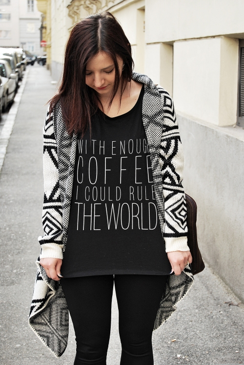 outfit, fashion, coffee, tshirt, forever 21, geometric pattern, cardigan,