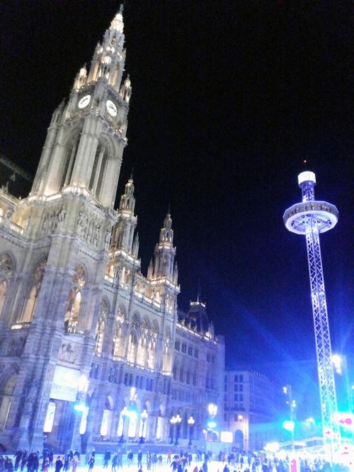 Vienna townhall, ice rink, winter, austria, vienna,