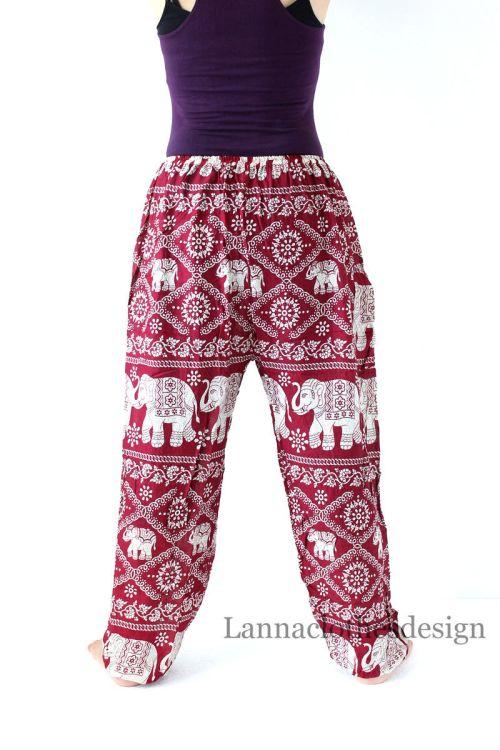 elephant yoga pants, elephant pattern, burgundy yoga pants, hippie, baggy,