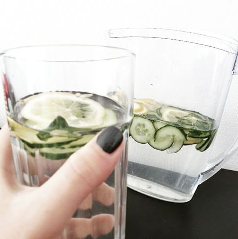 lemon cucumber mint water, detox water recipe