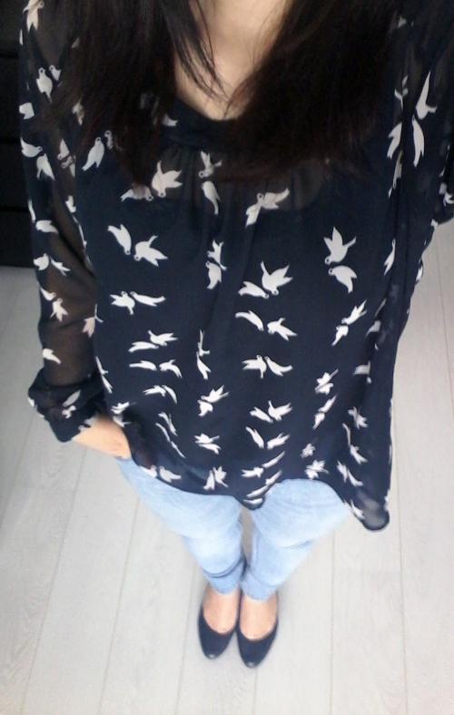 blue bird shirt outfit