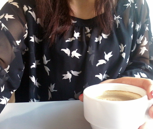 blue bird shirt, coffee