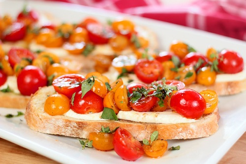 bruschetta, mozzarella, tomato, warm, in the oven, baked