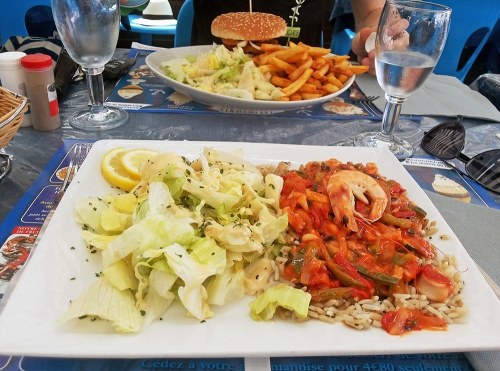 sea food, fisherman's salad, fish burger, cap d'agde, summer, france