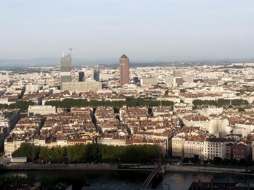 view over lyon, esplanade fourviere, lyon, france, basilique de fourviere